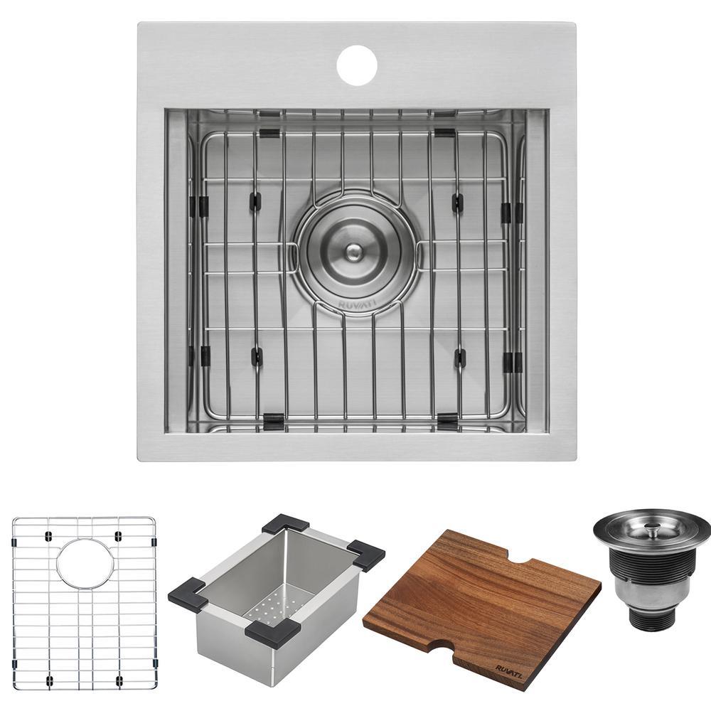 Ruvati 15 x 15 inch Workstation Drop-in Topmount Bar Prep RV Sink 16 Gauge Stainless Steel - RVH8215. Picture 7