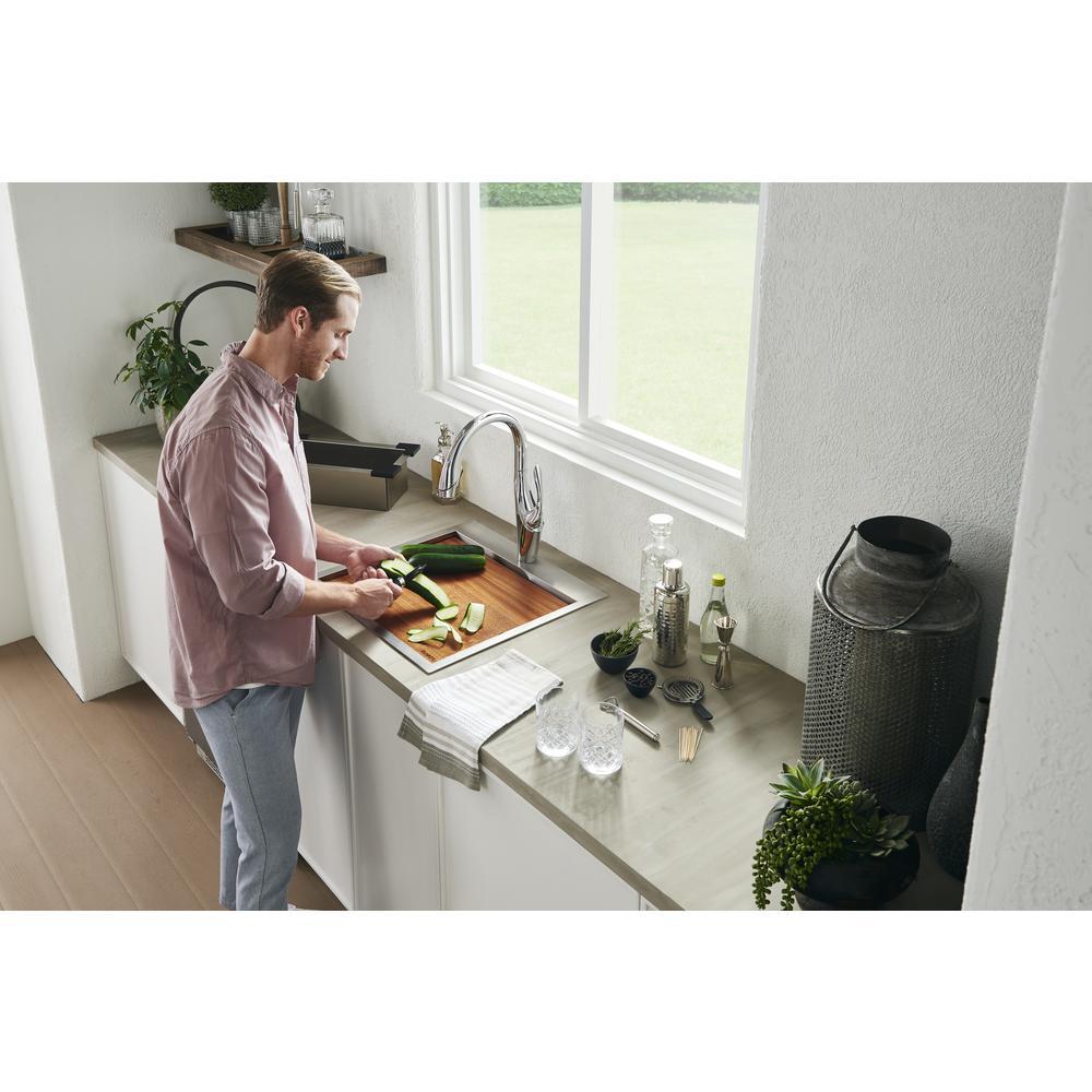 Ruvati 15 x 15 inch Workstation Drop-in Topmount Bar Prep RV Sink 16 Gauge Stainless Steel - RVH8215. Picture 9