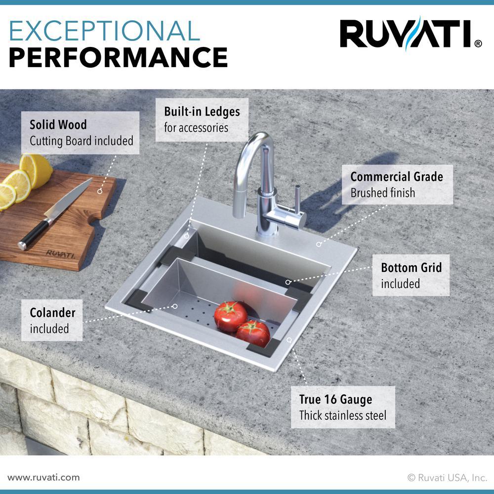 Ruvati 15 x 15 inch Workstation Drop-in Topmount Bar Prep RV Sink 16 Gauge Stainless Steel - RVH8215. Picture 11