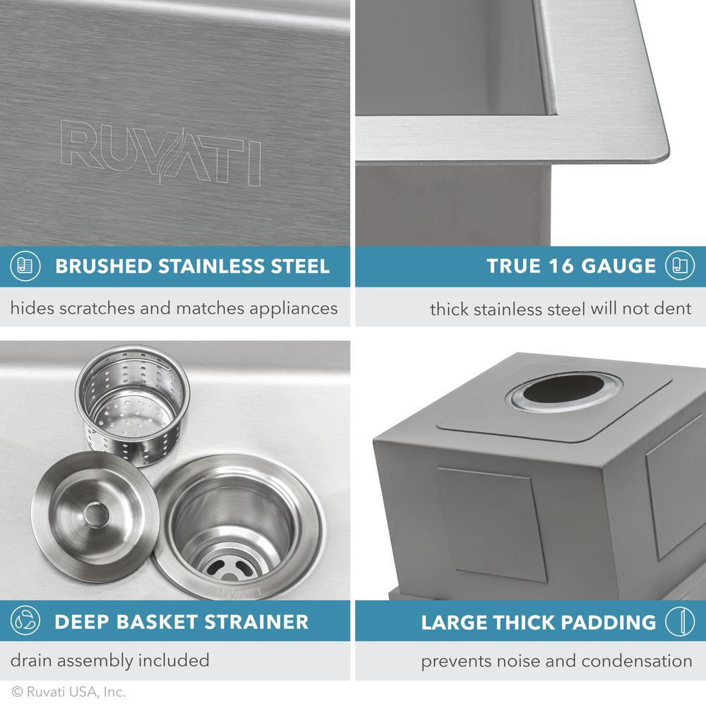 Ruvati 15 x 15 inch Workstation Drop-in Topmount Bar Prep RV Sink 16 Gauge Stainless Steel - RVH8215. Picture 12