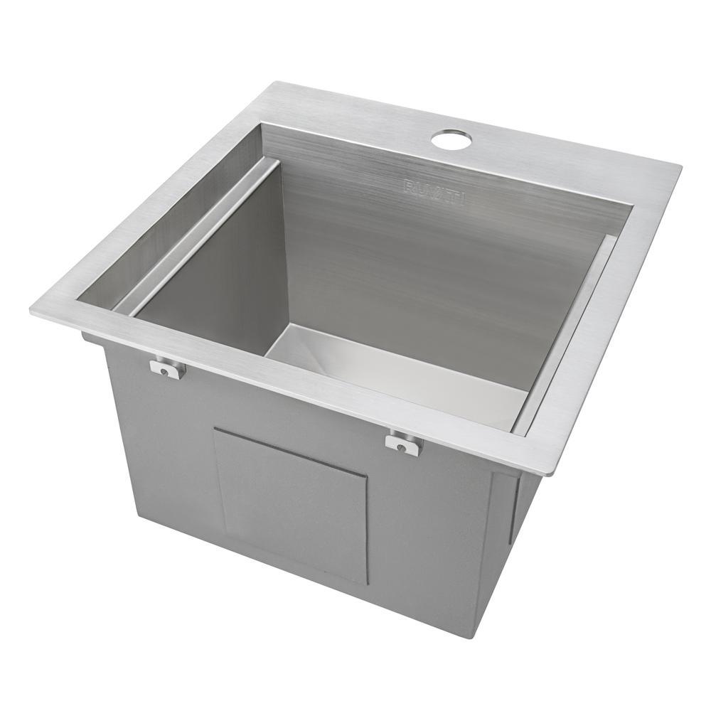 Ruvati 15 x 15 inch Workstation Drop-in Topmount Bar Prep RV Sink 16 Gauge Stainless Steel - RVH8215. Picture 14