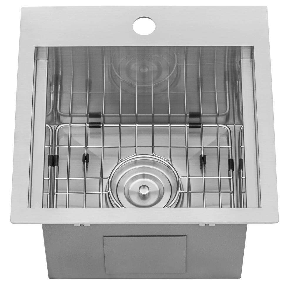 Ruvati 15 x 15 inch Workstation Drop-in Topmount Bar Prep RV Sink 16 Gauge Stainless Steel - RVH8215. Picture 15