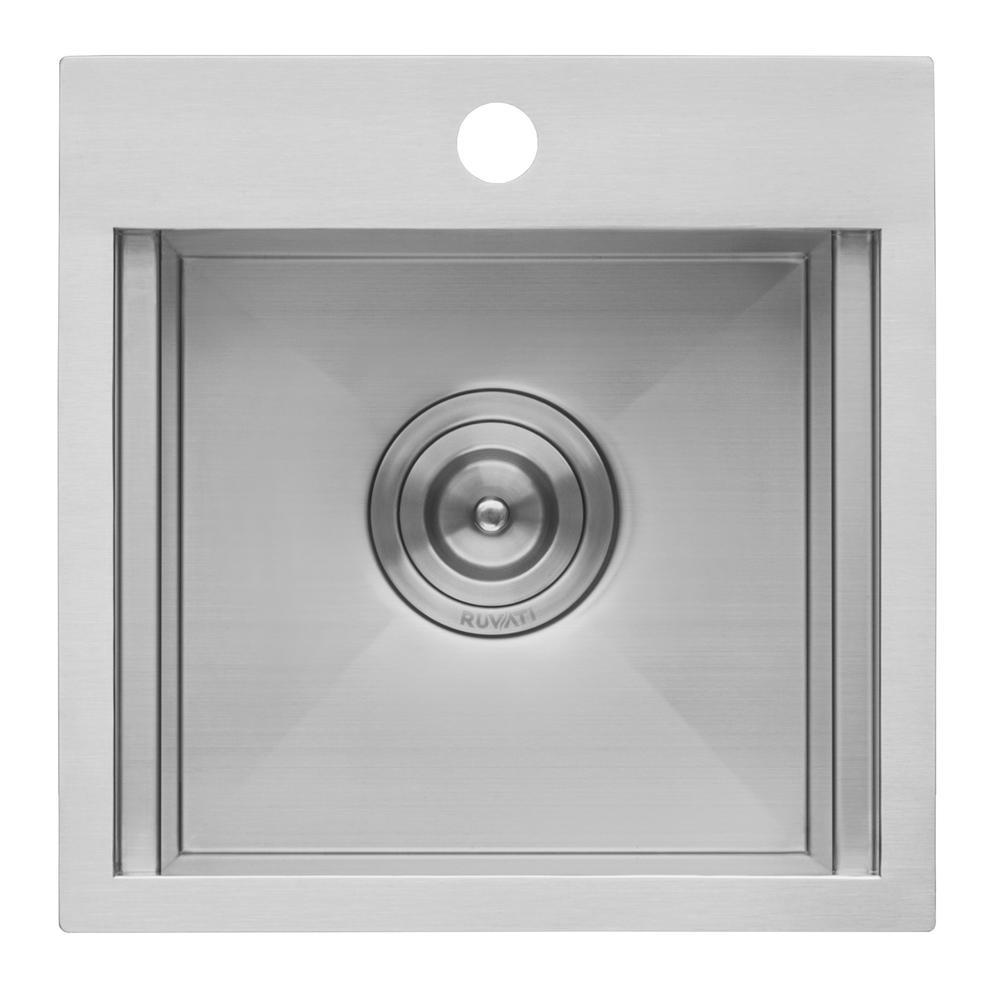 Ruvati 15 x 15 inch Workstation Drop-in Topmount Bar Prep RV Sink 16 Gauge Stainless Steel - RVH8215. Picture 18
