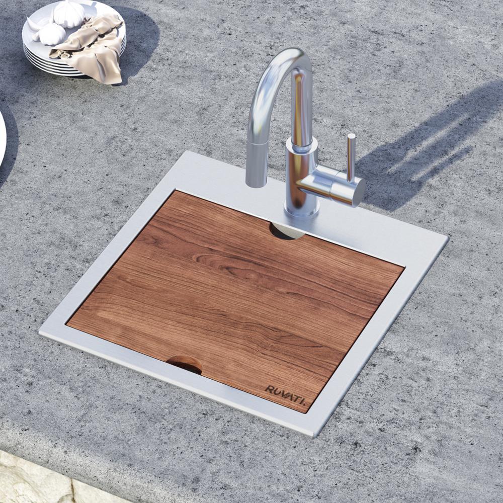 Ruvati 15 x 15 inch Workstation Drop-in Topmount Bar Prep RV Sink 16 Gauge Stainless Steel - RVH8215. Picture 19