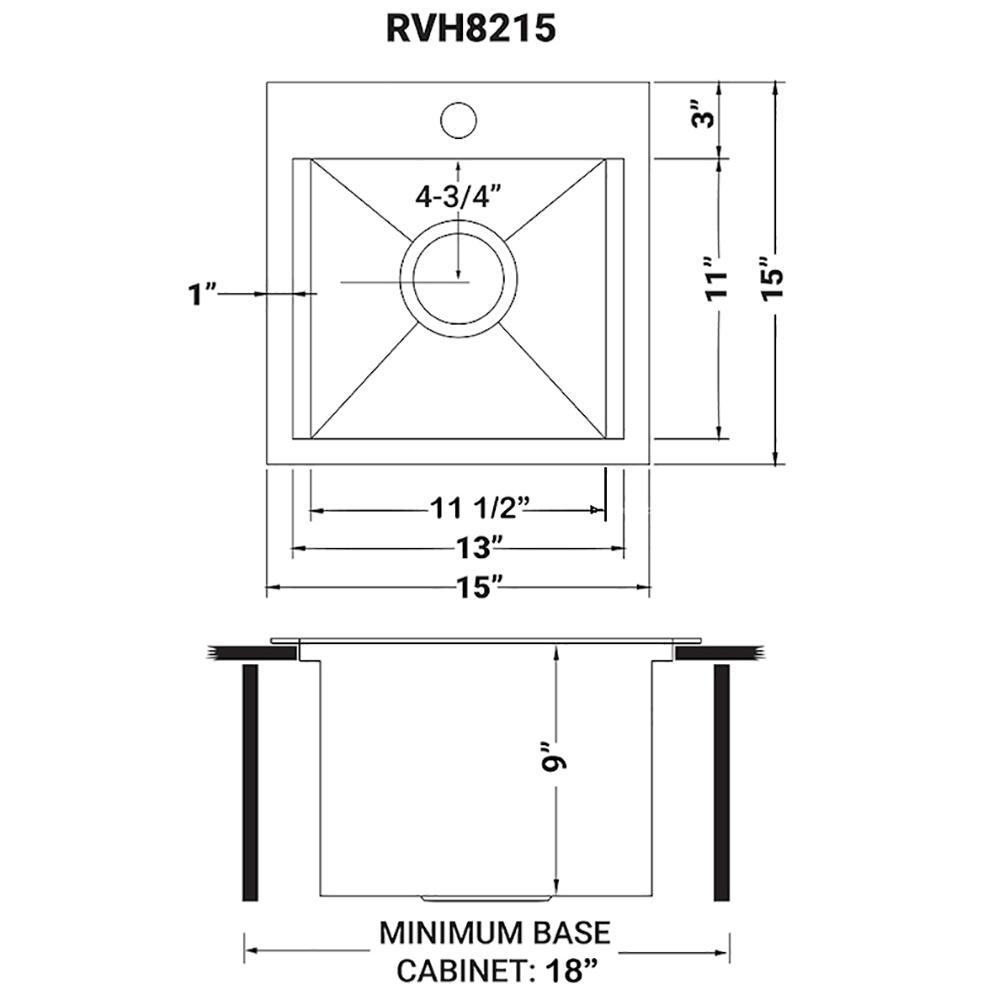 Ruvati 15 x 15 inch Workstation Drop-in Topmount Bar Prep RV Sink 16 Gauge Stainless Steel - RVH8215. Picture 20