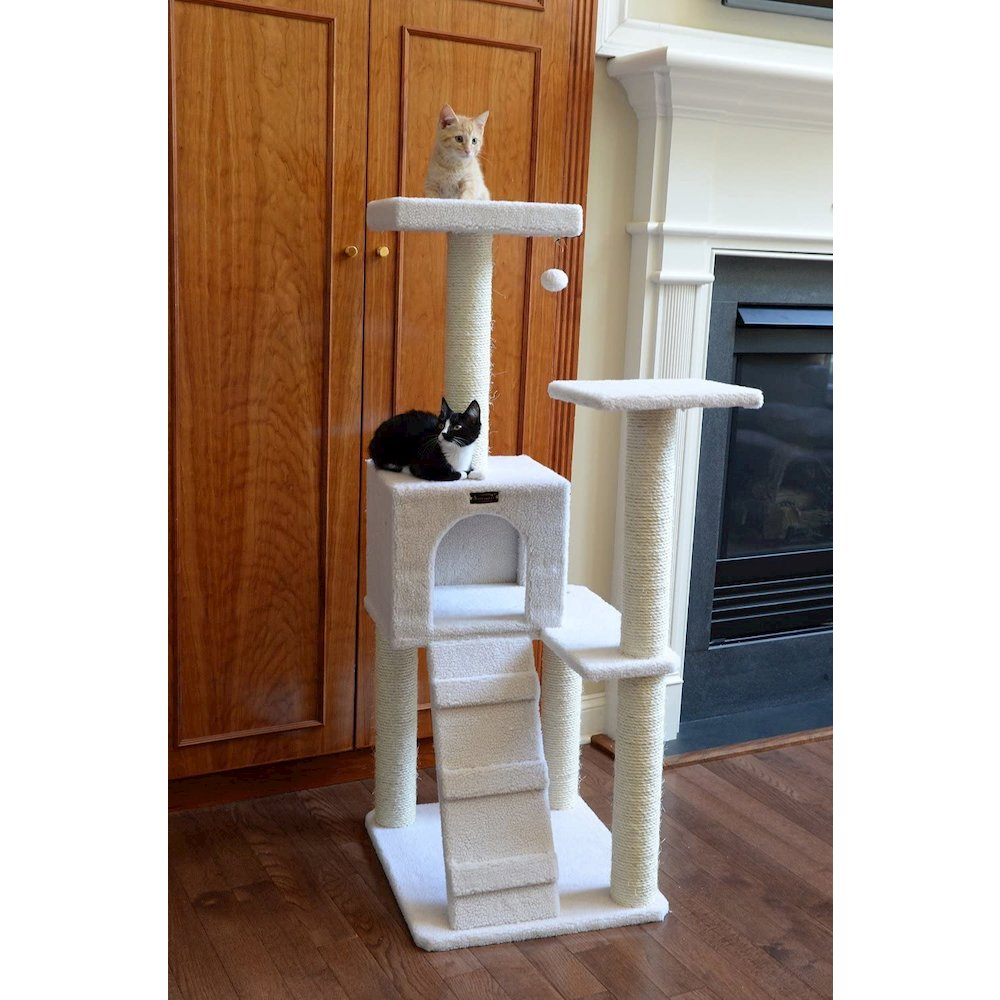 Armarkat Model B5301 53-Inch Classic Cat Tree in Ivory with Ramp, Perch, Condo, Jackson Galaxy Approved. Picture 5