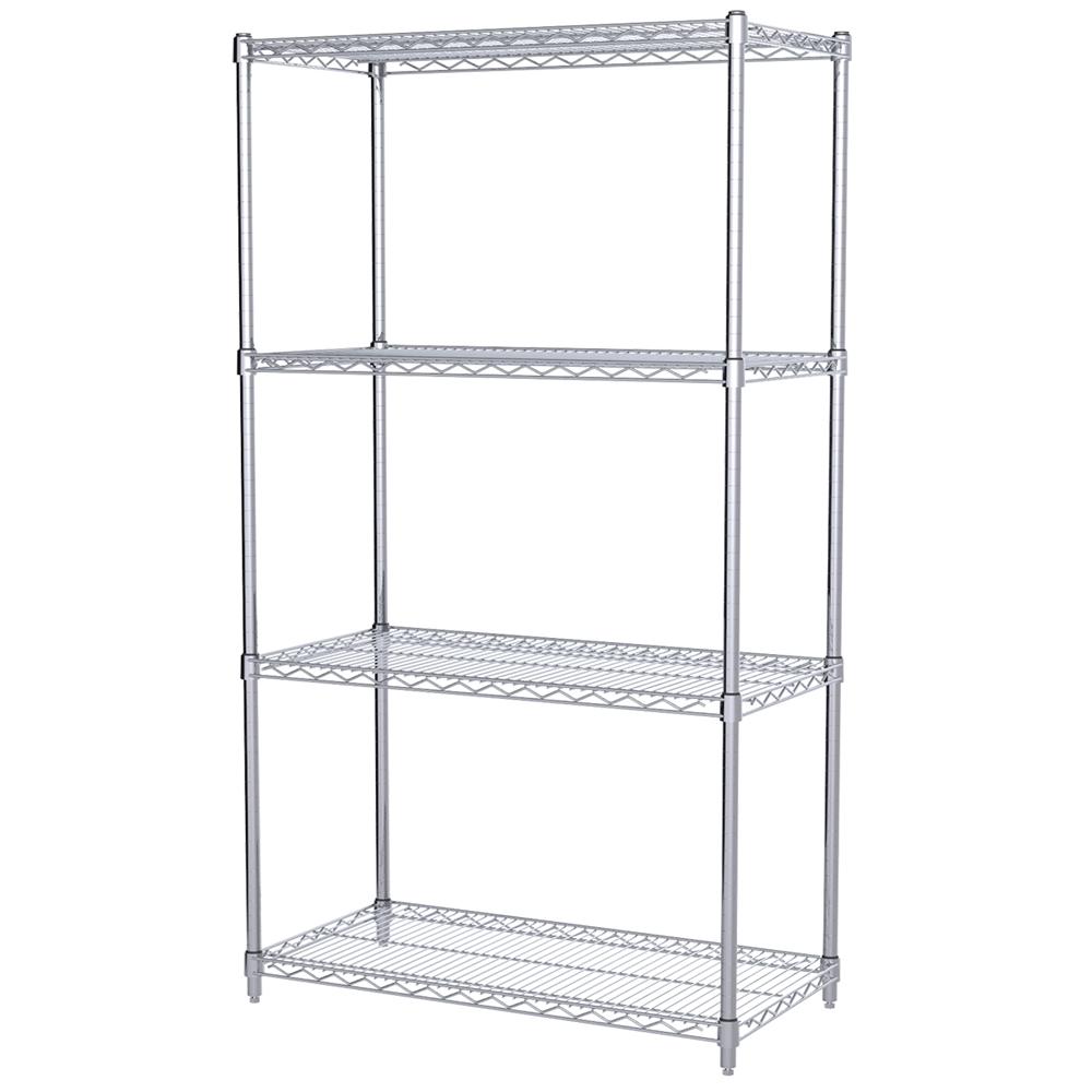 18x36x63 4 shelf wire shelving unit chrome for Chrome bathroom shelving unit