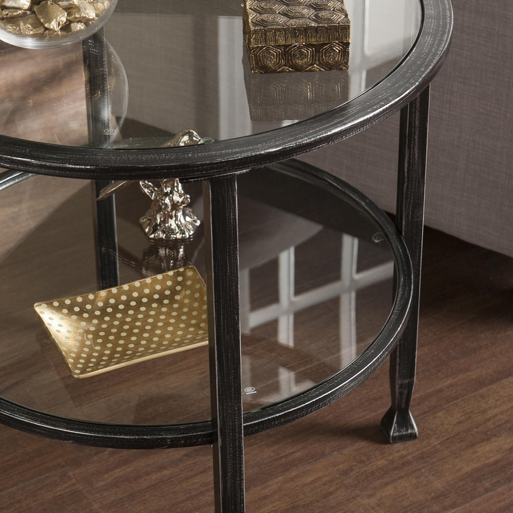 Jaymes Metal Glass Round End Table
