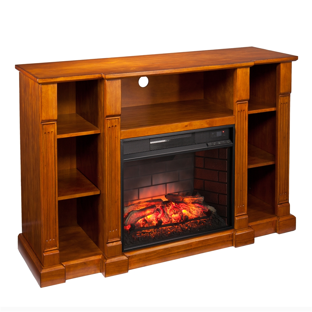 Kendall Infrared Electric Fireplace Media Stand Glazed Pine