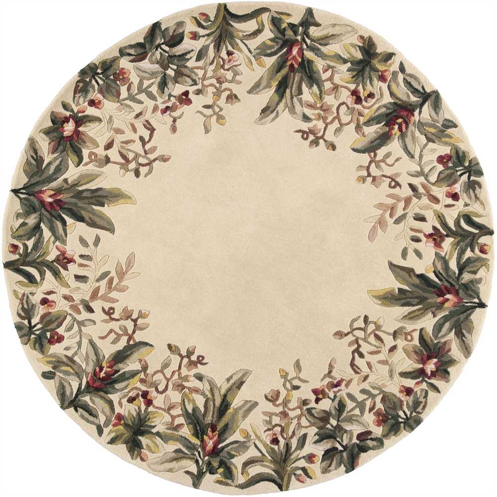 """Eternity Landscapes Ocean Area Rug: Emerald 9022 Ivory Tropical Border 7'6"""" Round Size Area Rug"""