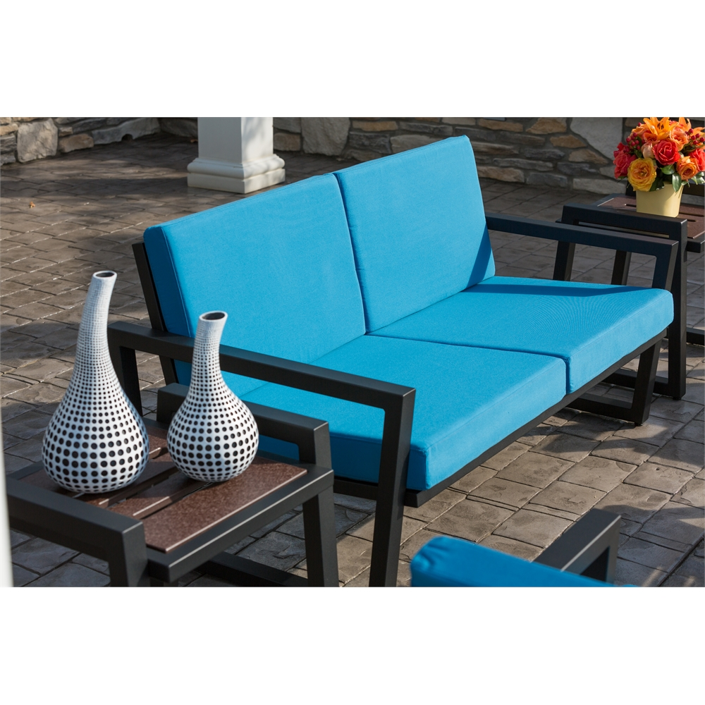 Vero Outdoor Baby Grand Lounge Set Textured Black with Sky Blue Sunbrella S