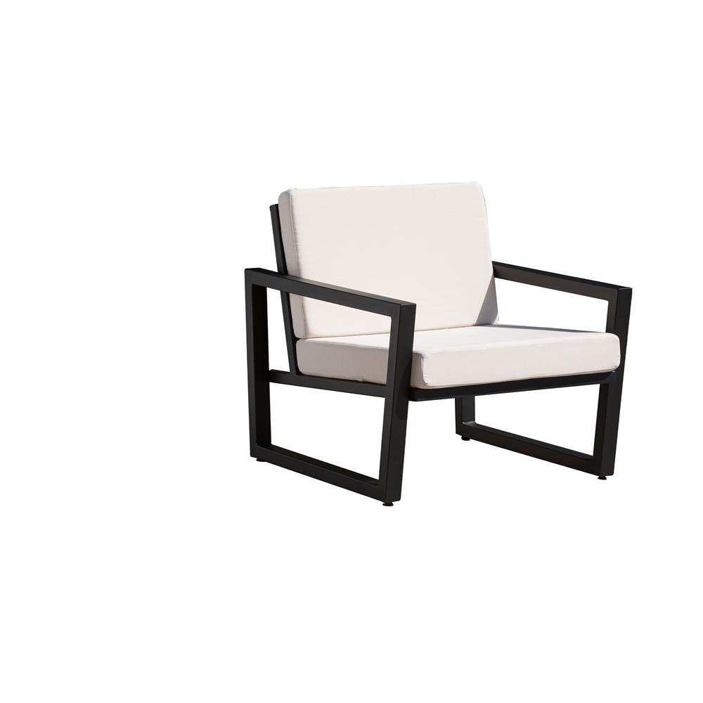 Vero Outdoor Lounge Chair Textured Black with Bird s Eye Sunbrella Seat