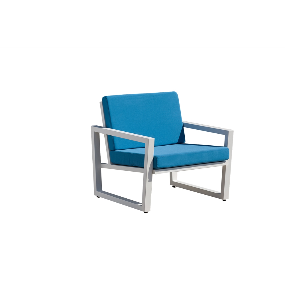 Vero Outdoor Lounge Chair Textured White with Sky Blue Sunbrella Seat and Back