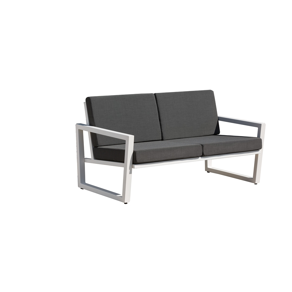 Vero Outdoor Lounge Settee Textured White With Coal