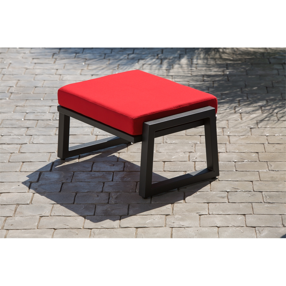 Vero Outdoor Lounge Ottoman Textured Black with Logo Red Sunbrella Cushion