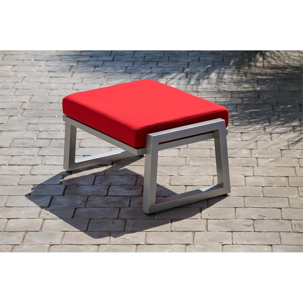 Vero Outdoor Lounge Ottoman Gloss Silver with Logo Red Sunbrella Cushion