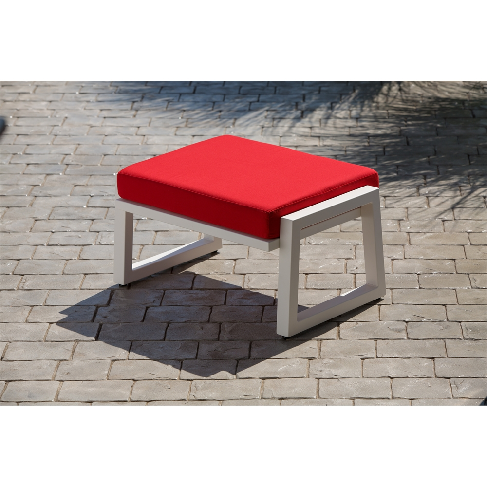 Vero Outdoor Lounge Ottoman Textured White with Logo Red Sunbrella Cushion