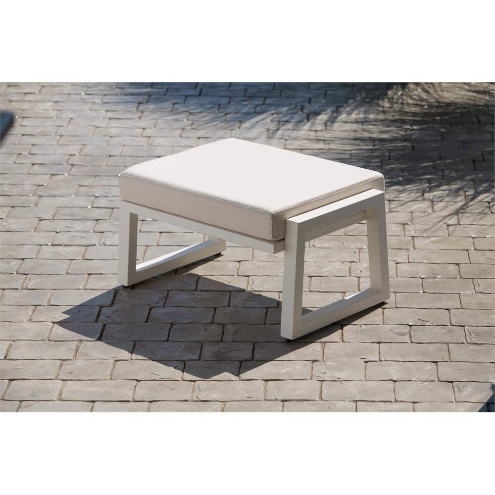 Vero Outdoor Lounge Ottoman Textured White with Bird s Eye Sunbrella Cu