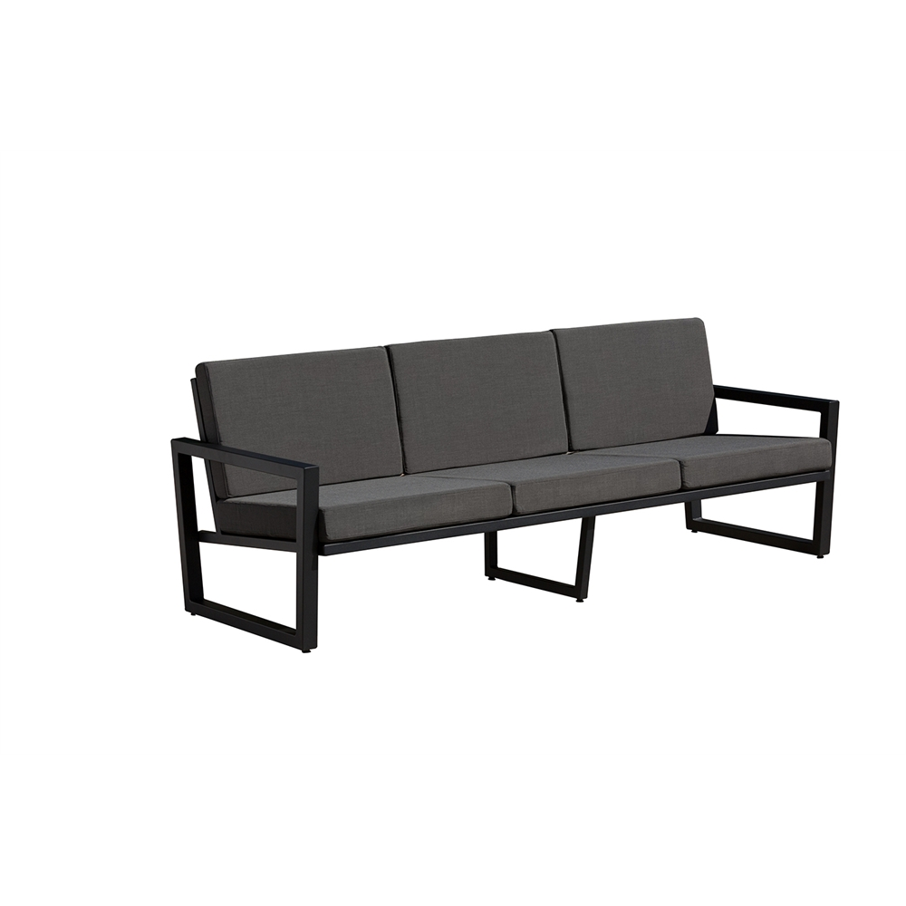vero outdoor lounge sofa textured black with coal sunbrella seat and back. Black Bedroom Furniture Sets. Home Design Ideas