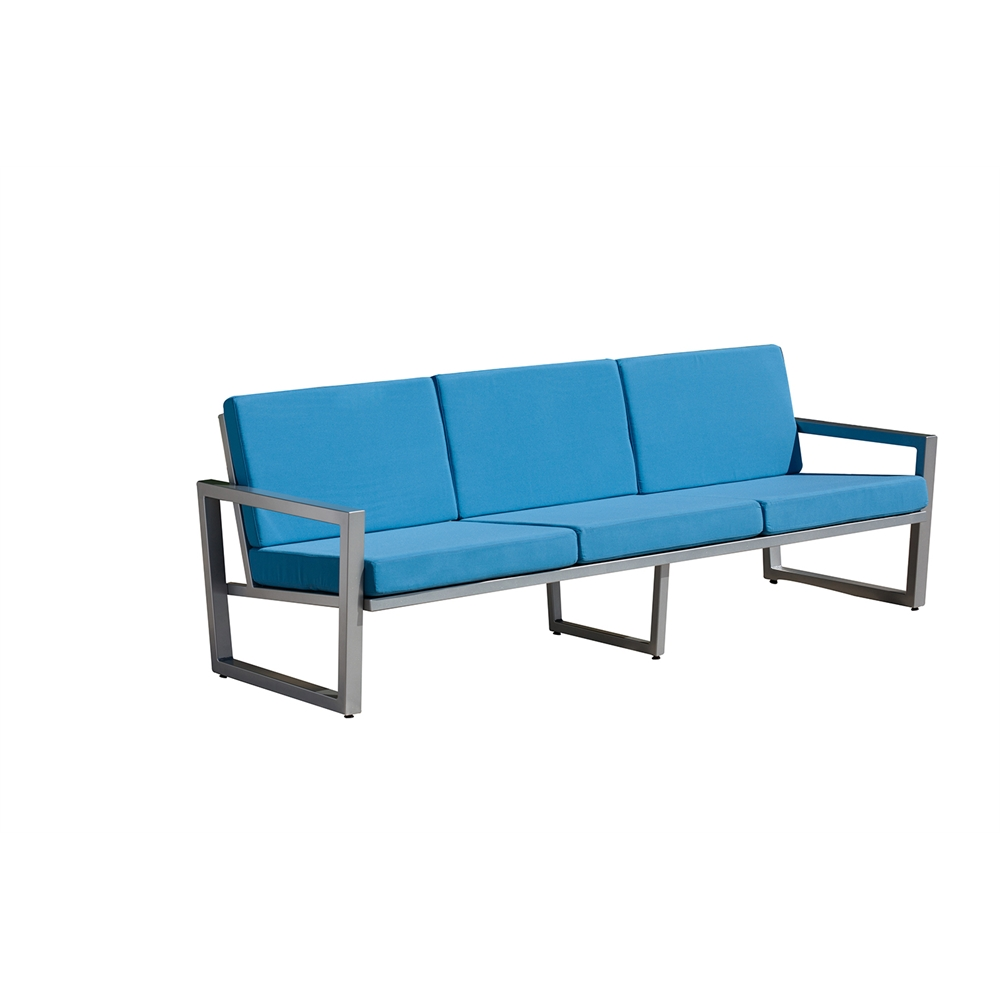 vero outdoor lounge sofa gloss silver with sky blue sunbrella seat and back. Black Bedroom Furniture Sets. Home Design Ideas