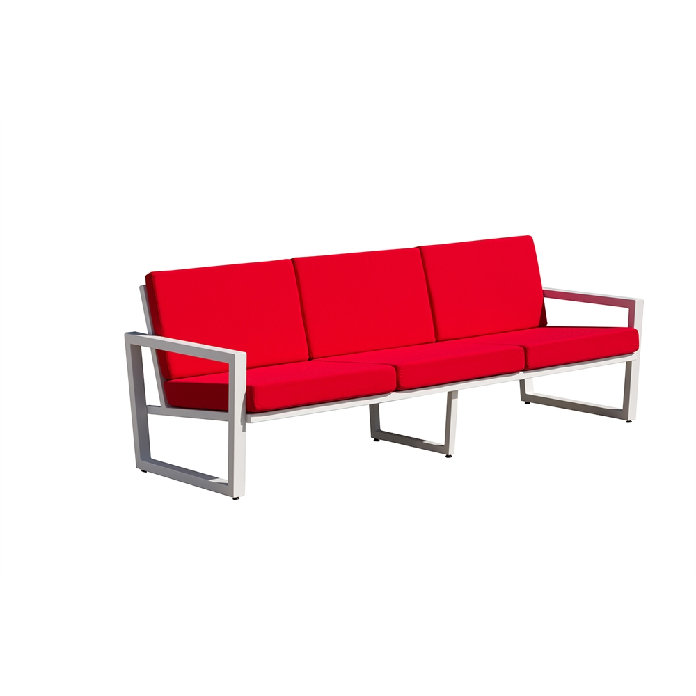 Vero Outdoor Lounge Sofa Textured White With Logo Red Sunbrella Seat And Back