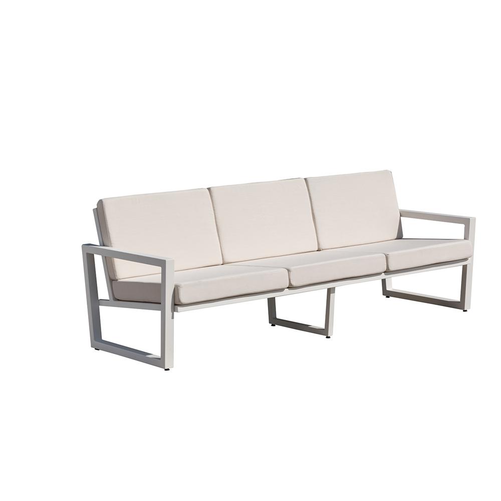 Vero Outdoor Lounge Sofa Textured White with Bird s Eye Sunbrella Seat
