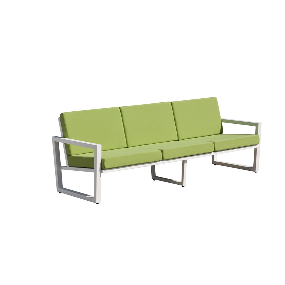 Vero Outdoor Lounge Sofa Textured White With Ginkgo Sunbrella Seat And Back