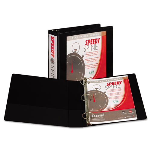 """Speedy Spine Heavy-Duty Time Saving Round Ring View Binder, 3 Rings, 2"""" Capacity, 11 x 8.5, Black. Picture 1"""