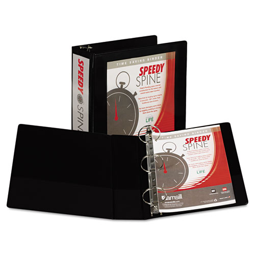 """Speedy Spine Heavy-Duty Time Saving Round Ring View Binder, 3 Rings, 3"""" Capacity, 11 x 8.5, Black. Picture 1"""