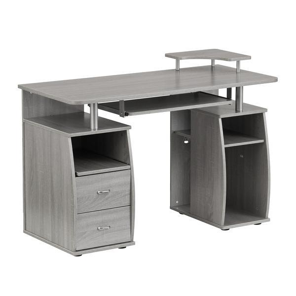 Kensington Dusk Cabinets: Complete Computer Workstation Desk With Storage, Gray