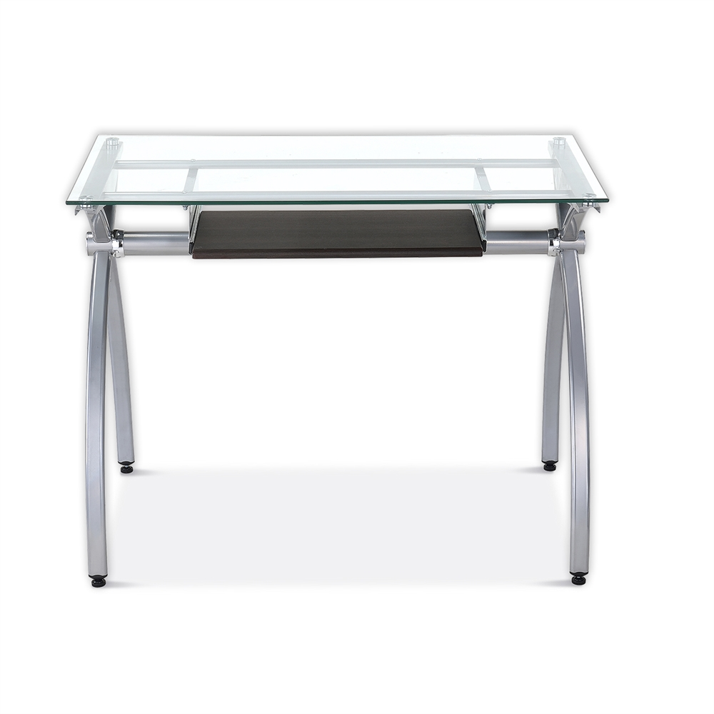 Contempo Clear Glass Top Computer Desk With Pull Out