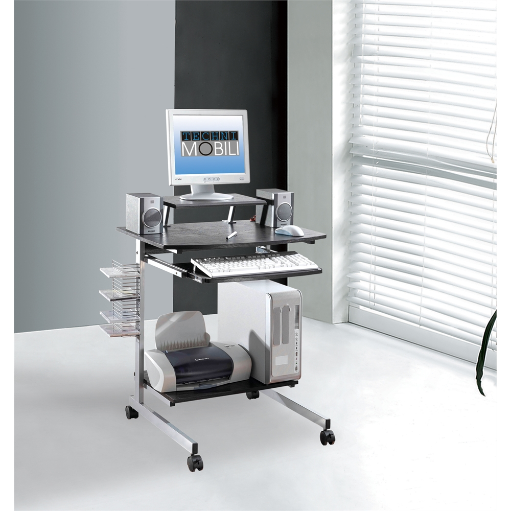Compact computer cart with storage color espresso for Mobili computer