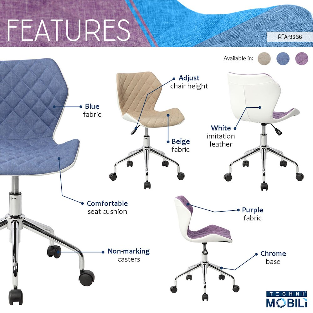 Techni Mobili Modern Height Adjutable Office Task Chair, Blue. Picture 5