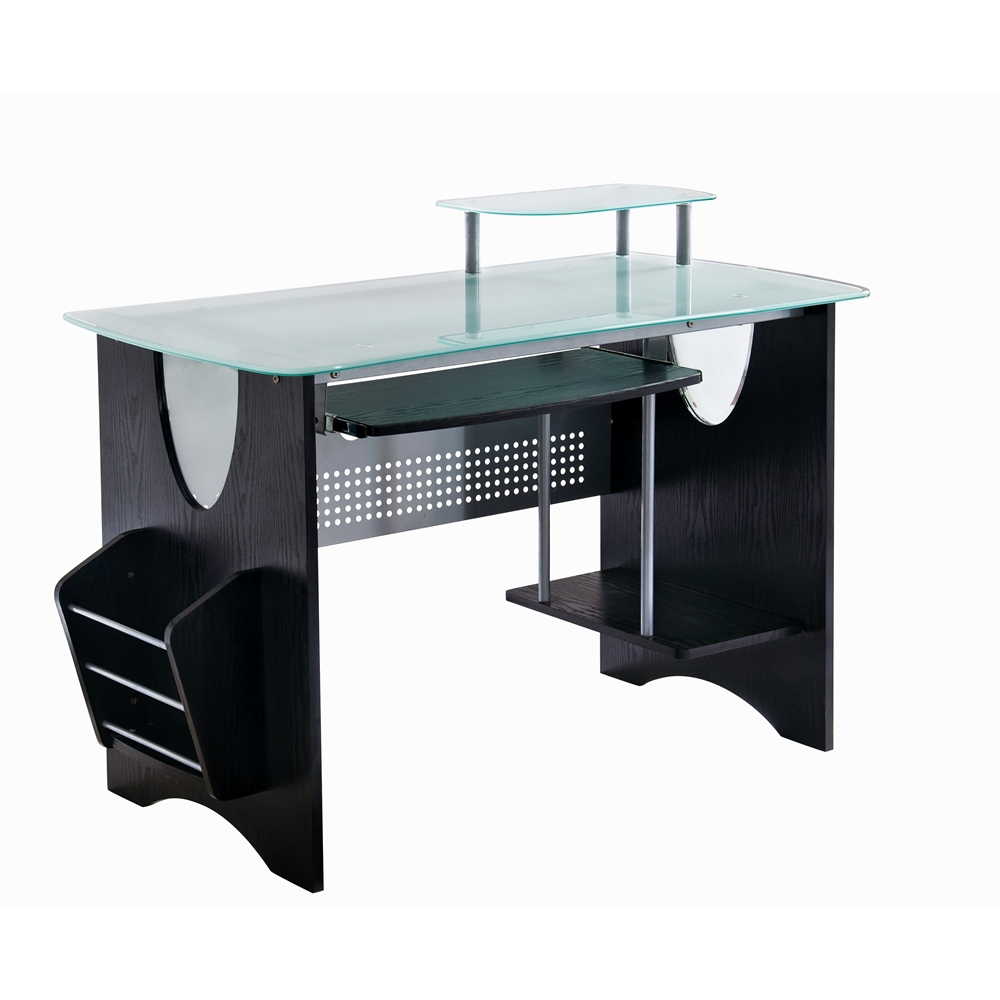 Stylish Frosted Gl Top Computer Desk With Storage Color Espresso
