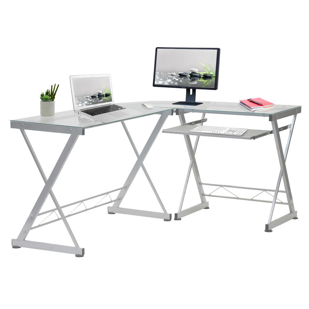 L Shaped Tempered Glass Top Computer Desk With Pull Out