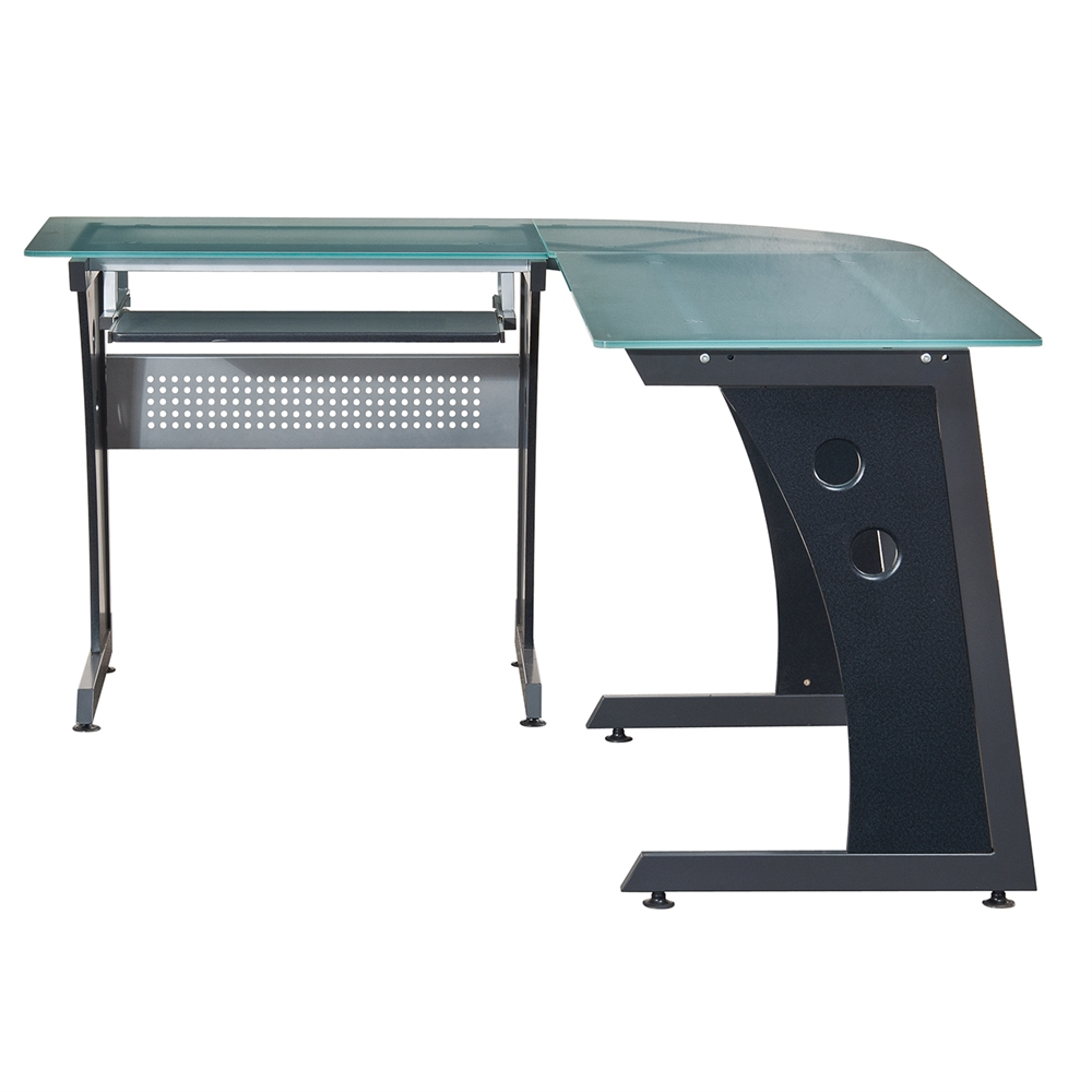 Deluxe L Shaped Tempered Frosted Glass Top Computer Desk