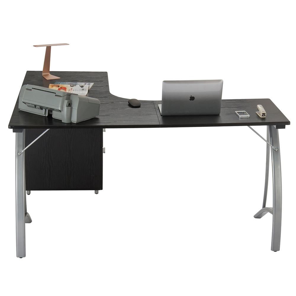 Modern L Shaped Computer Desk With File Cabinet And