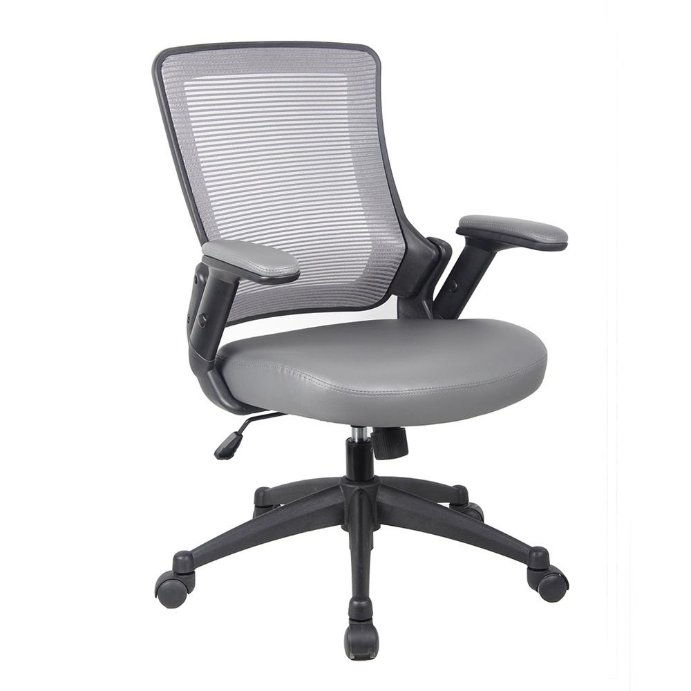 Mid Back Mesh Task Office Chair With Flip Up Arms Color Gray