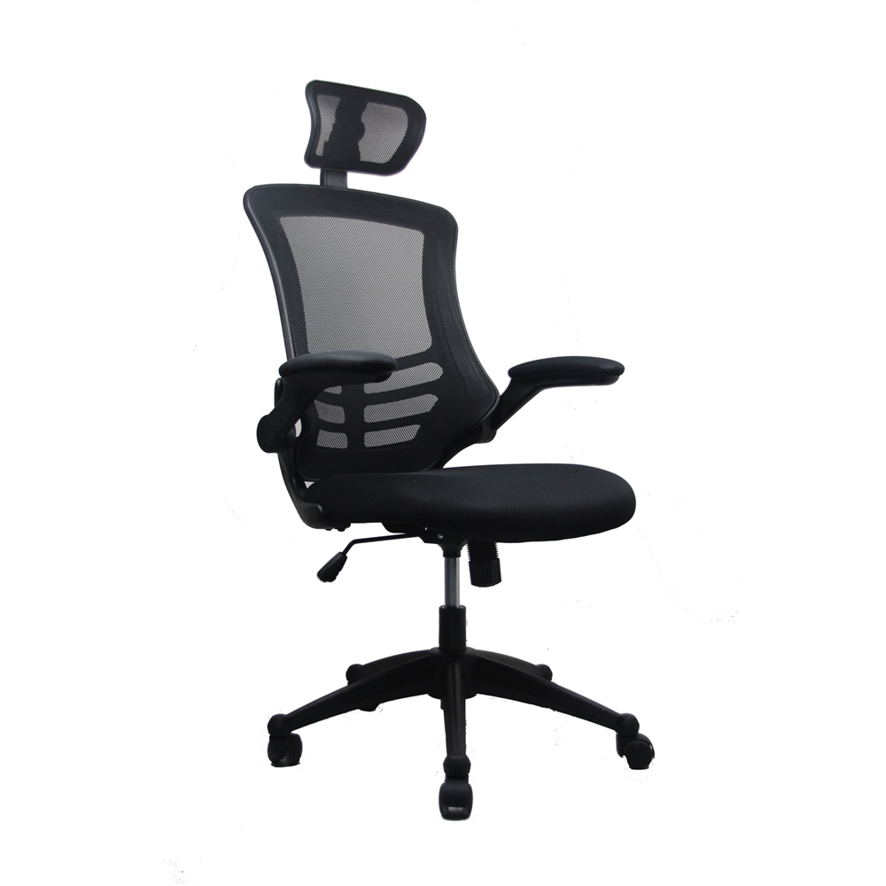 Modern High Back Mesh Executive Office Chair With Headrest And Flip Up Arms Color Black