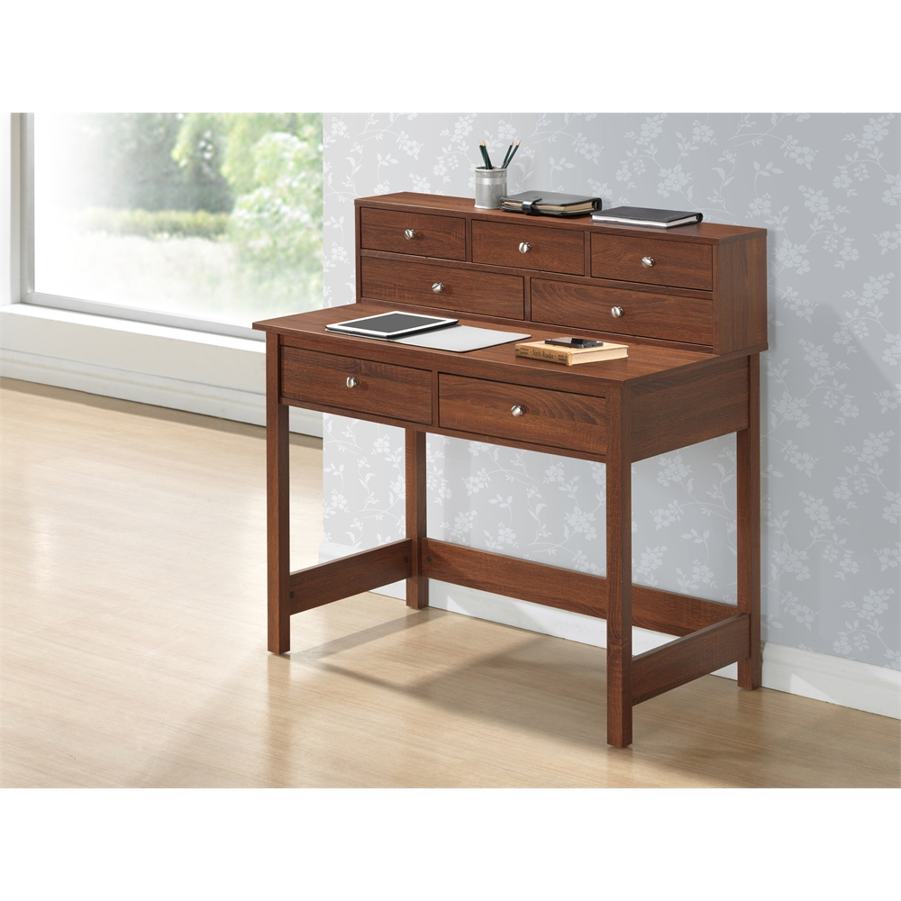 Elegant Writing Desk With Storage And Hutch Color Oak