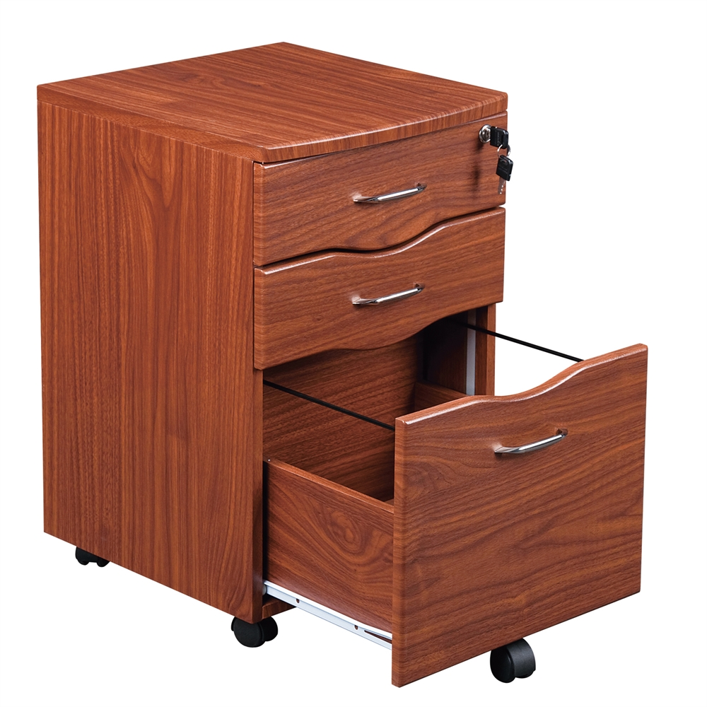 Rolling storage and File Cabinet. Color: Mahogany. Picture 2