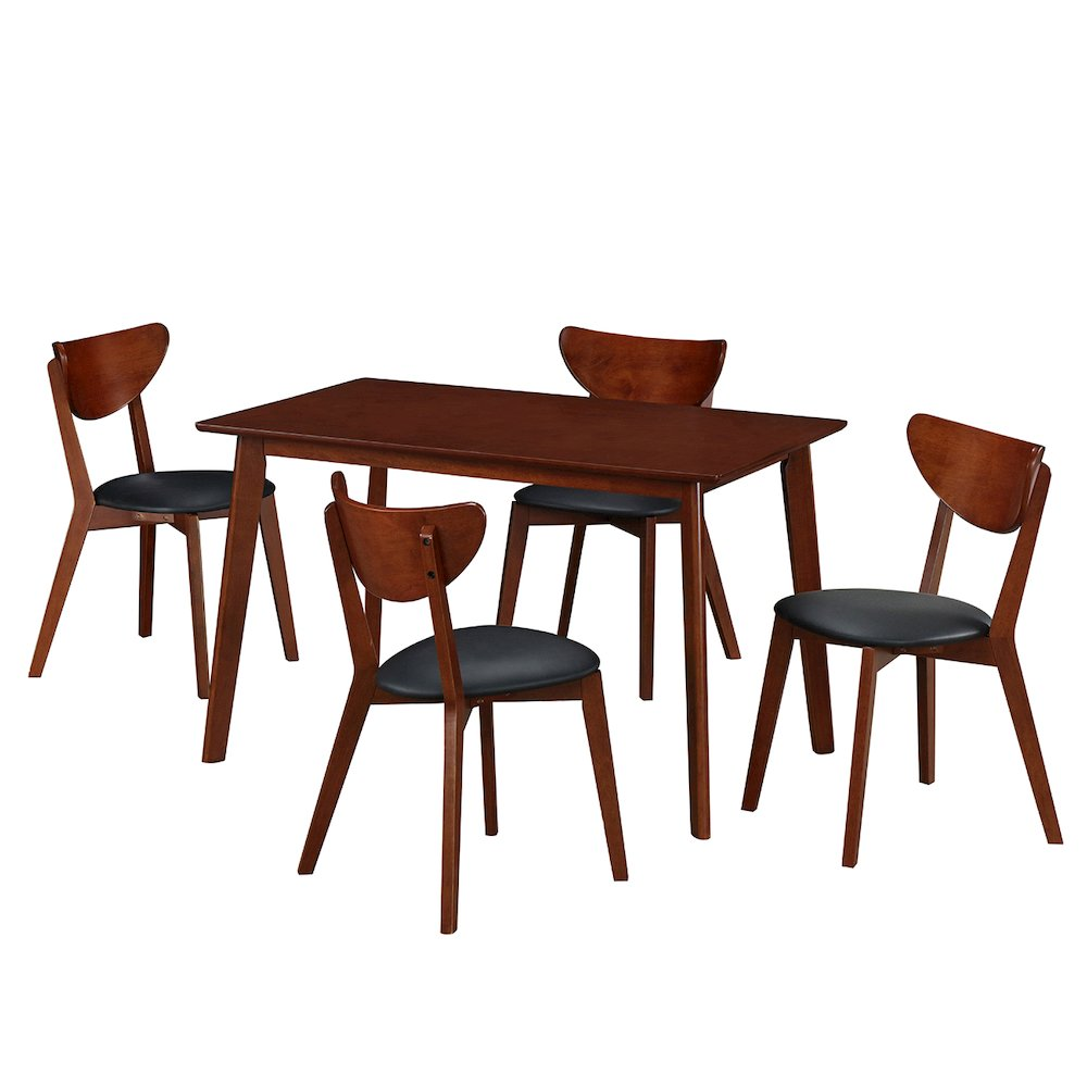 Modern wood dining room table and chair 5 piece set for Modern dining room table sets