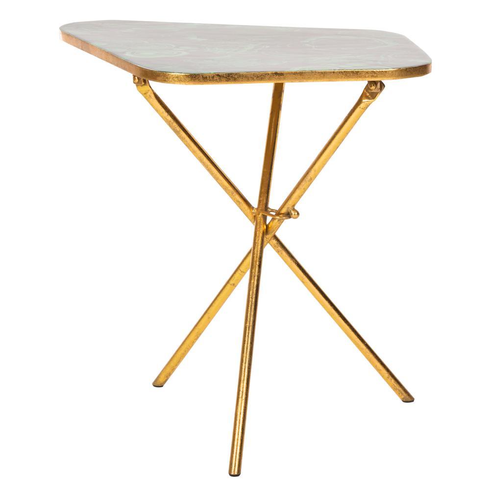 Zamara Faux Agate Side Table, Malachite/Gold. Picture 1