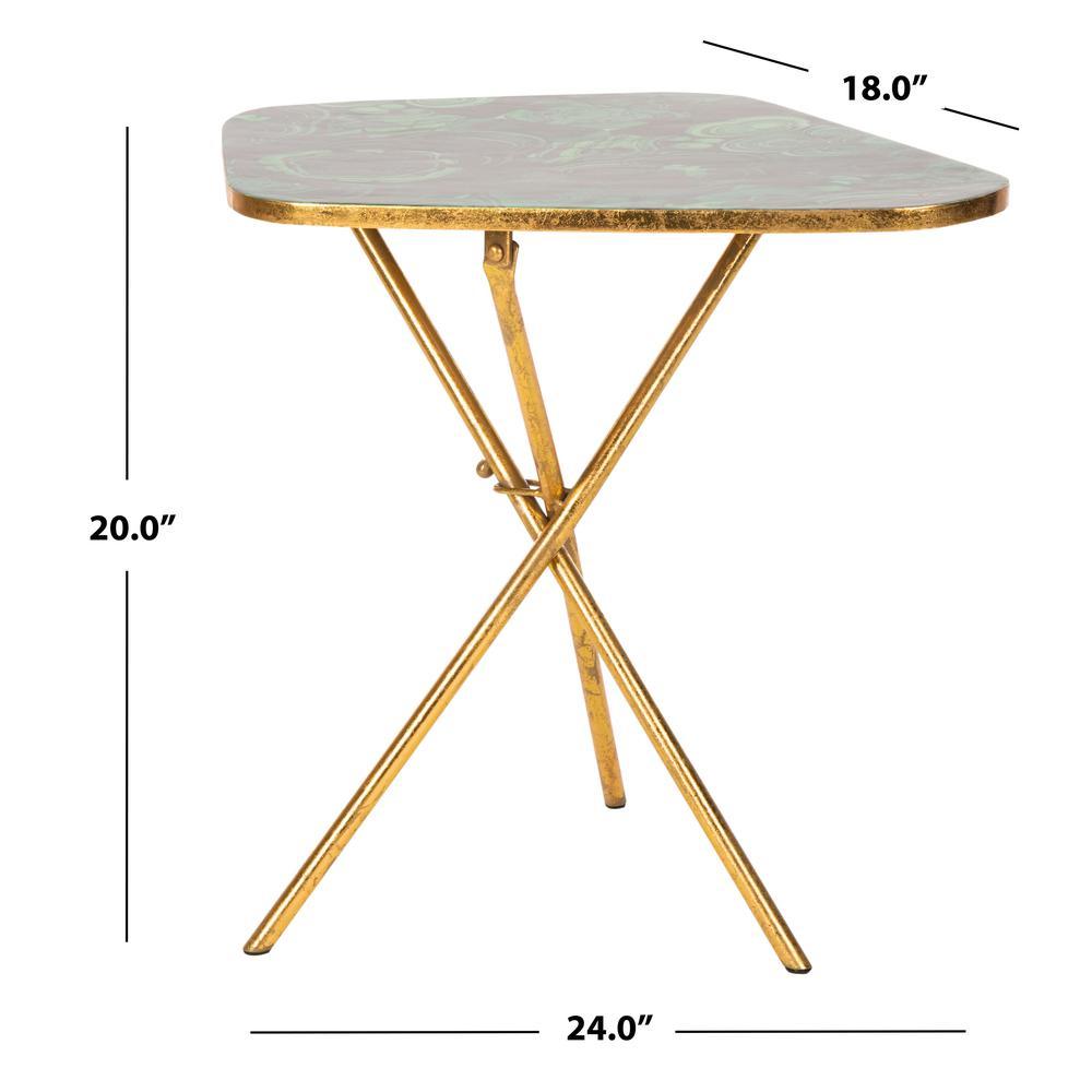 Zamara Faux Agate Side Table, Malachite/Gold. Picture 3
