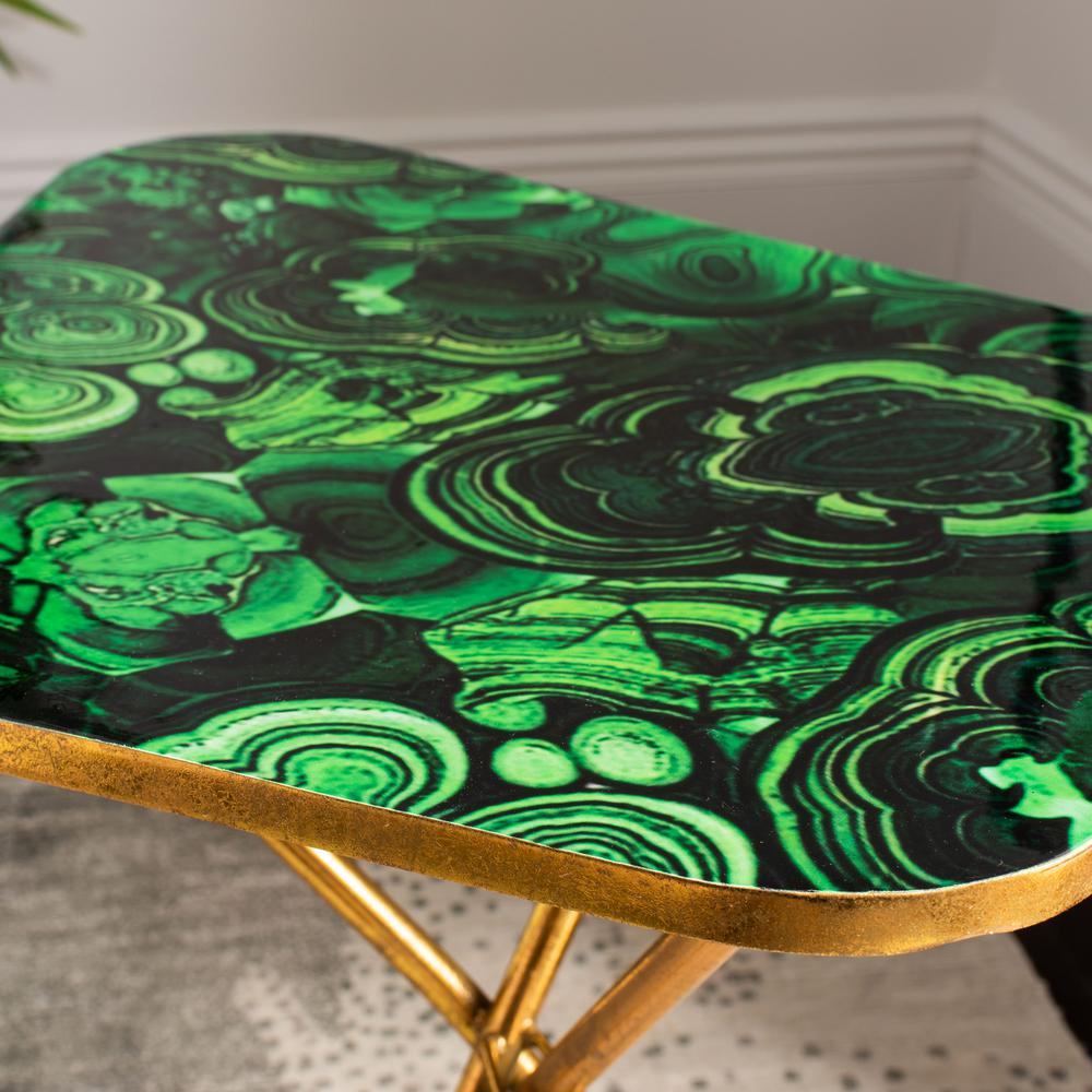 Zamara Faux Agate Side Table, Malachite/Gold. Picture 5