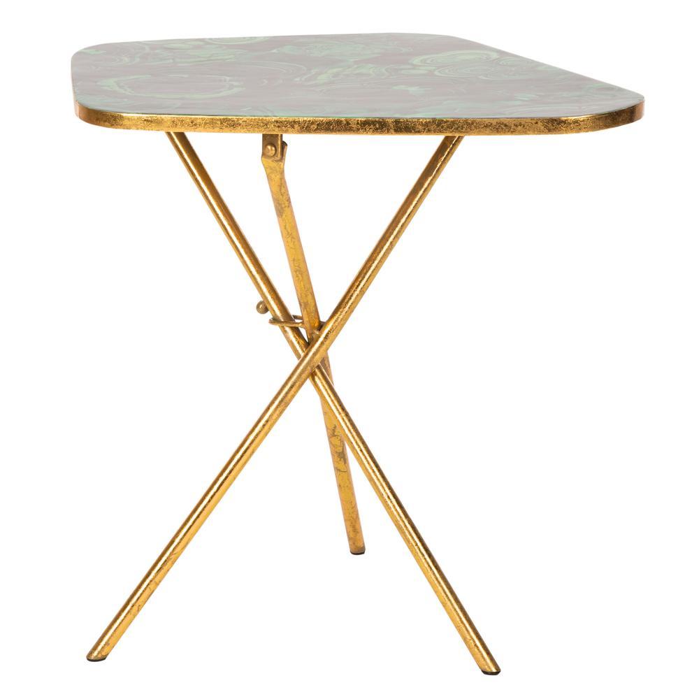 Zamara Faux Agate Side Table, Malachite/Gold. Picture 7