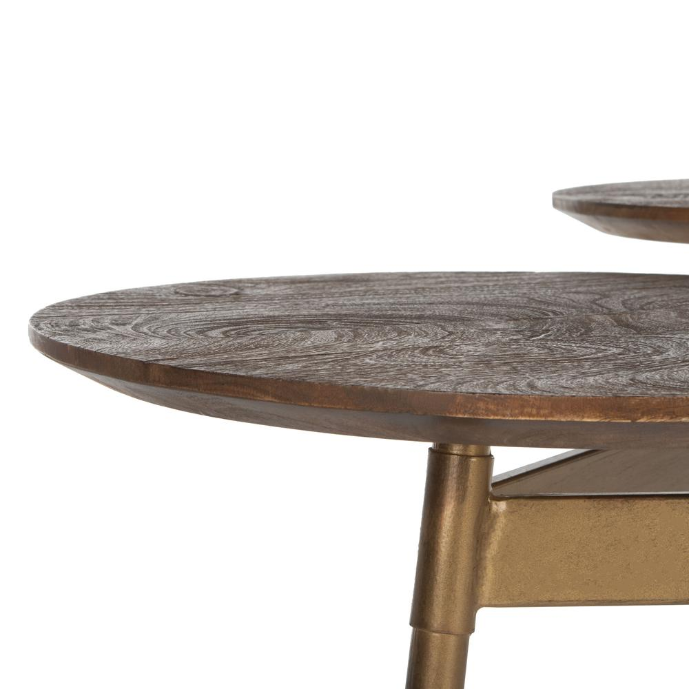 Ian 3 Circle Accent Table, Rustic Honey/Gold. Picture 2