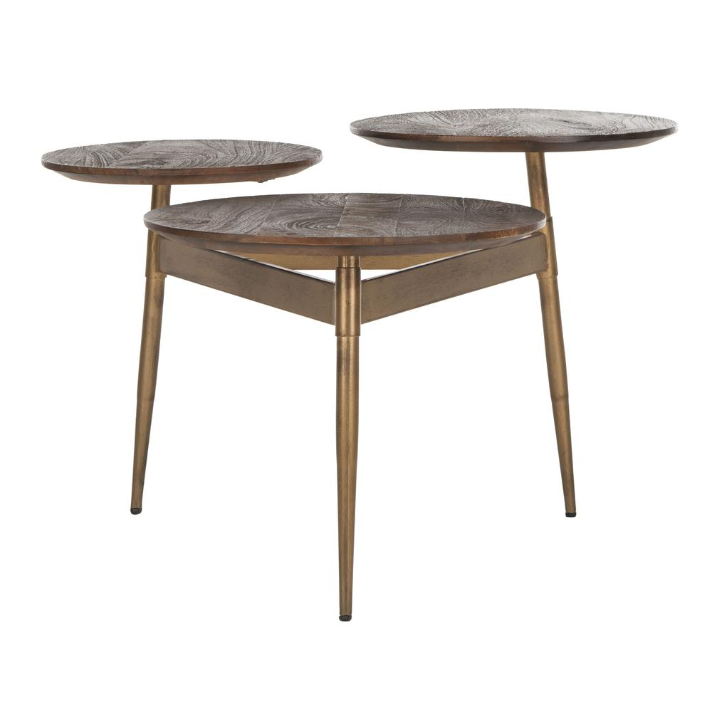 Ian 3 Circle Accent Table, Rustic Honey/Gold. Picture 1