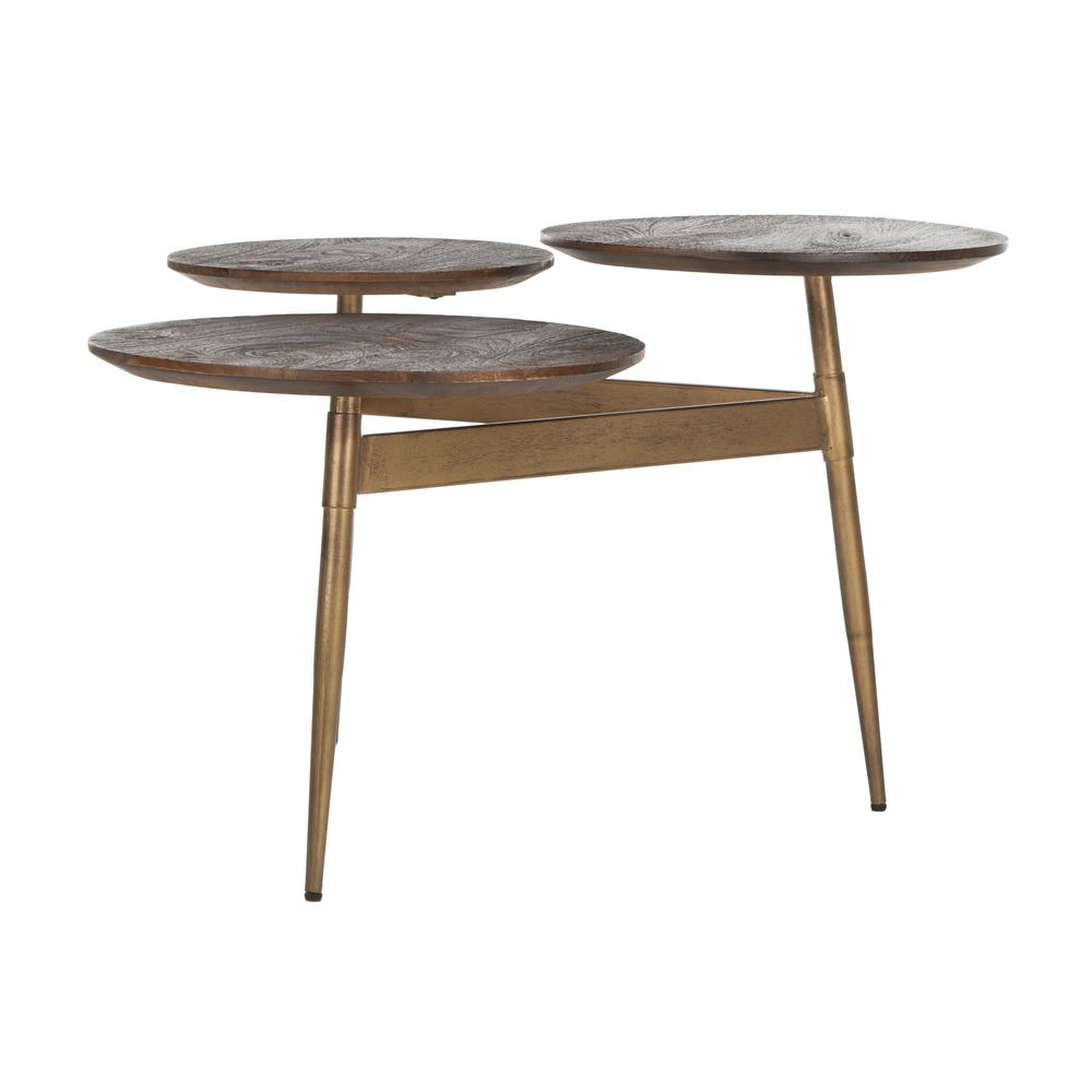 Ian 3 Circle Accent Table, Rustic Honey/Gold. Picture 6