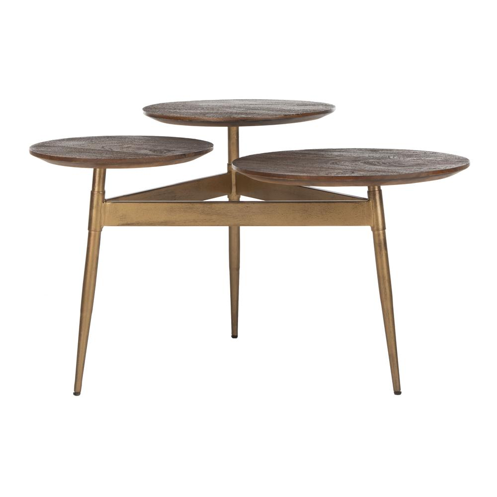 Ian 3 Circle Accent Table, Rustic Honey/Gold. Picture 7
